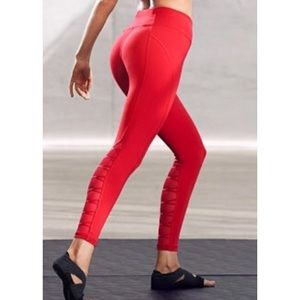 Victoria Secret ❤️Sport Red Lace Up Mesh Leggings